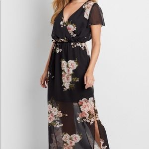chiffon wrap front maxi dress in floral print